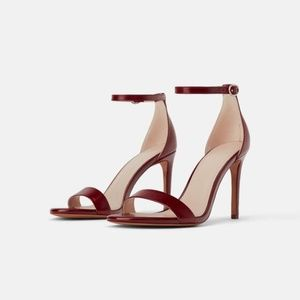 NWT ZARA Leather High Heeled Sandals Size 8 39